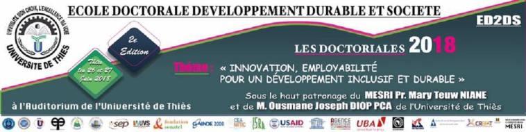 Doctoriales de l'ED2DS Université de Thiès