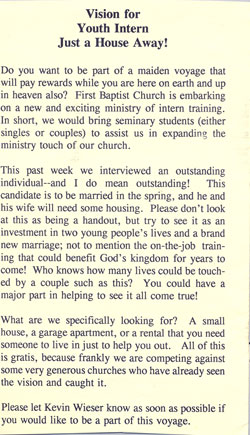 A note from the church bulletin… talking about us