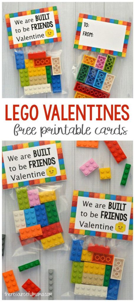 Lego packs as non-candy Valentine's ideas for kids