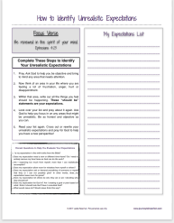Use this printable to identify unrealistic expectations in your life.