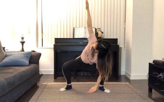 garland pose with twist hip stretch