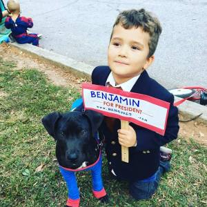 Benjamin for president, with Kai, the pit bull, as his running mate