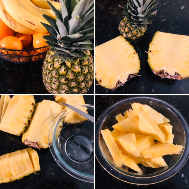 Vegan Pineapple Fried Rice Cutting the Fruit