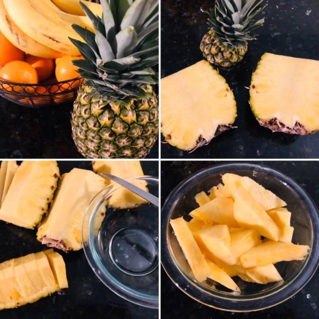 Vegan Pineapple Fried Rice Cutting the Fruit