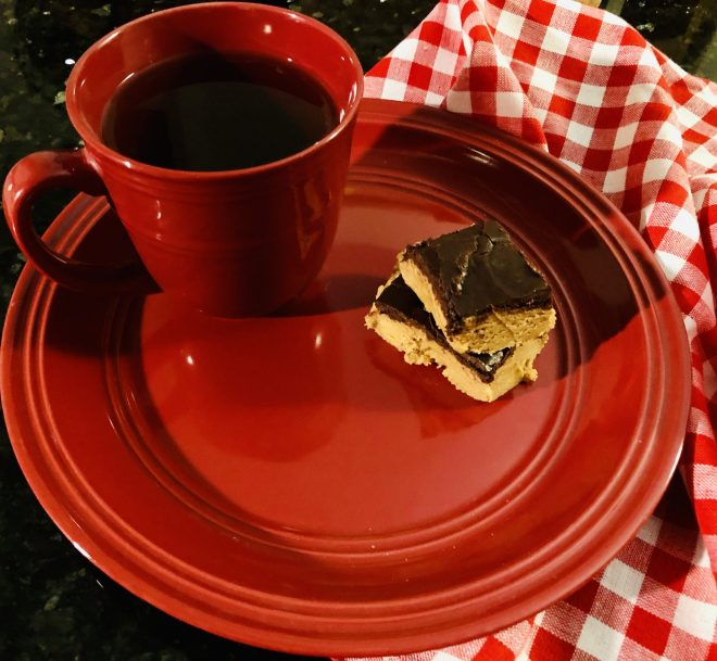 Easy No Bake Peanut Butter Chocolate Bars tea time