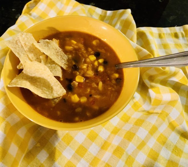 Easy Vegan Tortilla Soup ready to eat