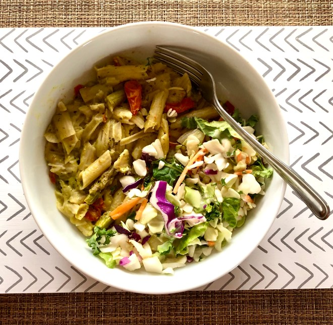 Creating Highly Nutritious Meals lunch avocado kale pasta and salad