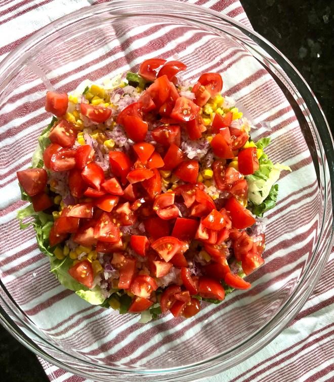Vegan Southwestern Layered Salad - tomatoes