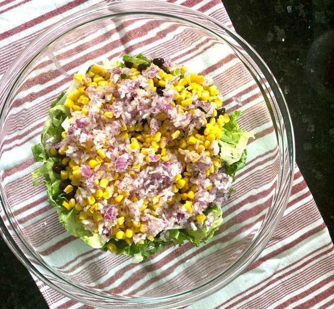 Vegan Southwestern Layered Salad red onions