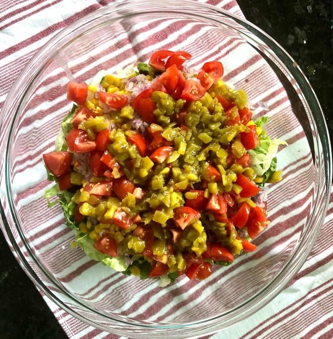 Vegan Southwestern Layered Salad green chilies
