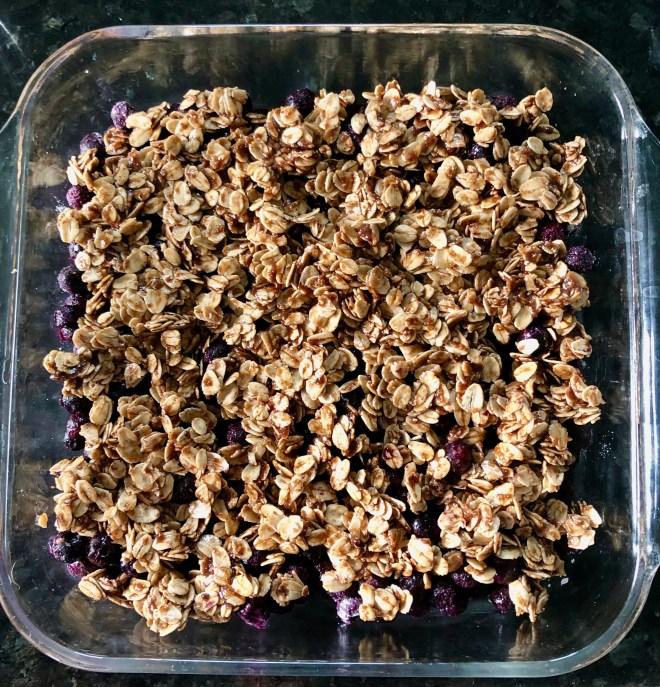 Easy Vegan Blueberry Crumble ready to bake