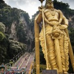 Lord Murugan towers over the entrance to Batu Caves, Malaysia