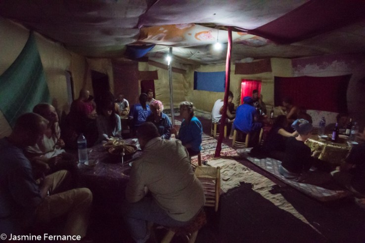 Dinner time at the berber camp in the Moroccan Sahara