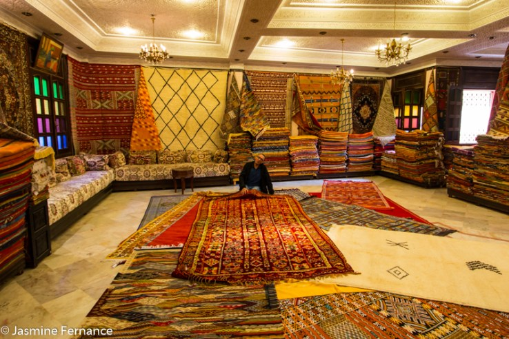 Moroccan carpet shop in Meknes