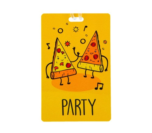 pizza party luggage tag