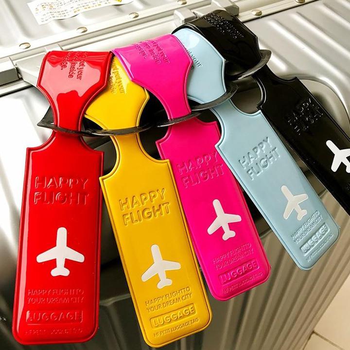 happy flight luggage tag