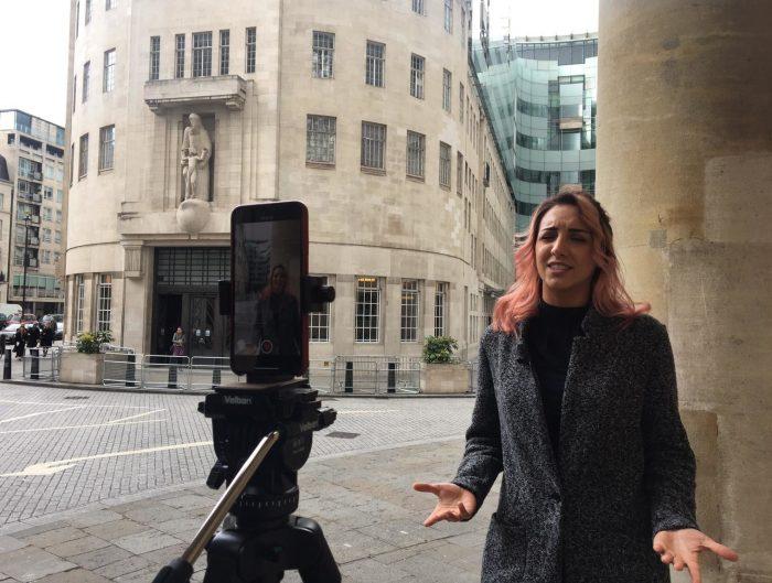 Mina Joshaghani filming outside the BBC