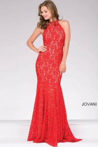 Red long sleeveless lace fitted high neckline prom dress.