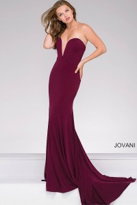 Eggplant long fitted dress with sweetheart strapless neckline.