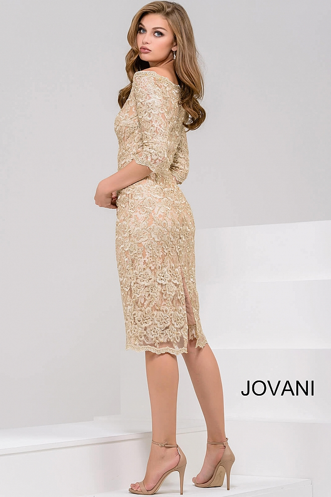 Lace knee length off the shoulder dress with three quarter