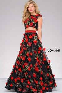 Two piece black and floral detailed ballgown with cap sleeves.