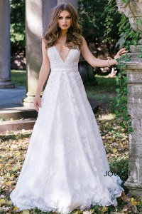 Ivory long a line sleeveless beaded bodice with plunging ...