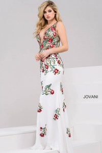 Off white multi floral embroidery fitted long backless ...