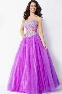 Jovani 1332 light-purple strapless A-line gown with ...