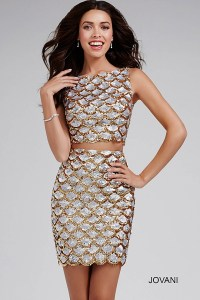 White and gold sexy two piece cocktail dress features open ...