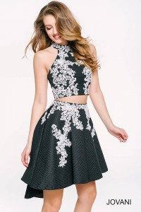 Black and ivory halter two piece cocktail dress with ...