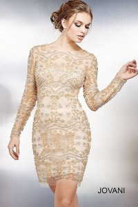 Gold and nude sheer fitted cocktail dress with long sleeves.