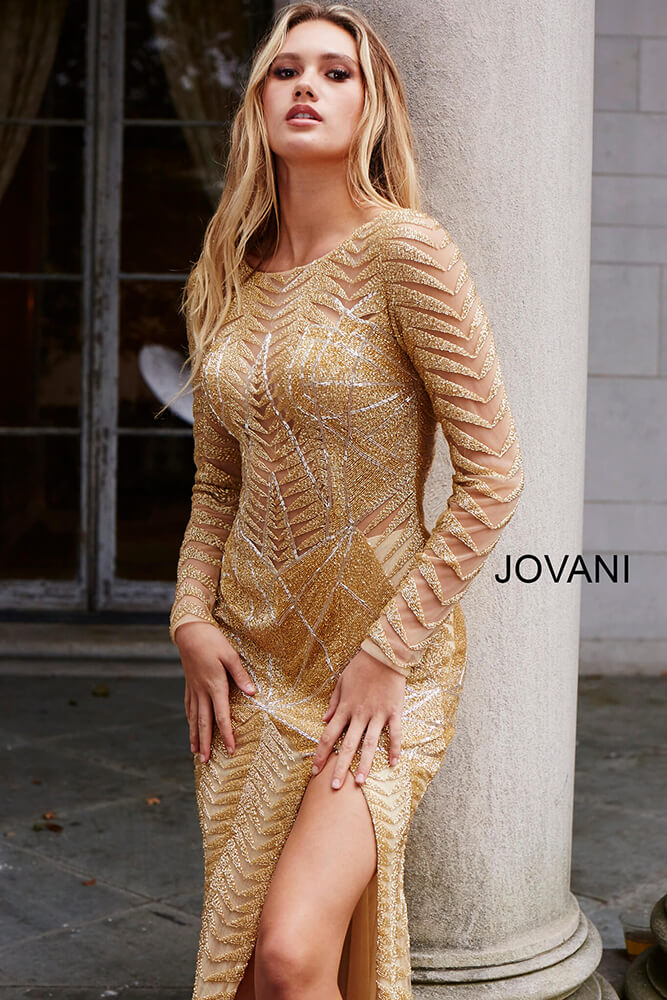 Jovani 51460 | Gold Long Sleeve Embellished Couture Gown