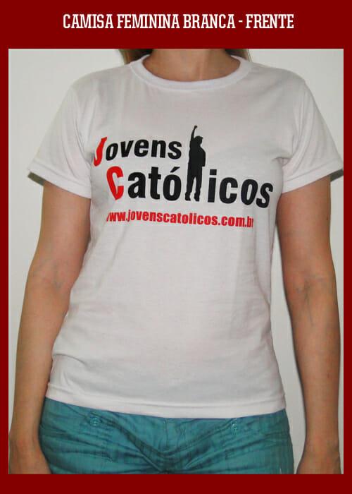Camisa Jovens Católicos - Baby look Branca