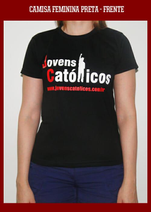 Camisa Jovens Católicos - Baby look preta