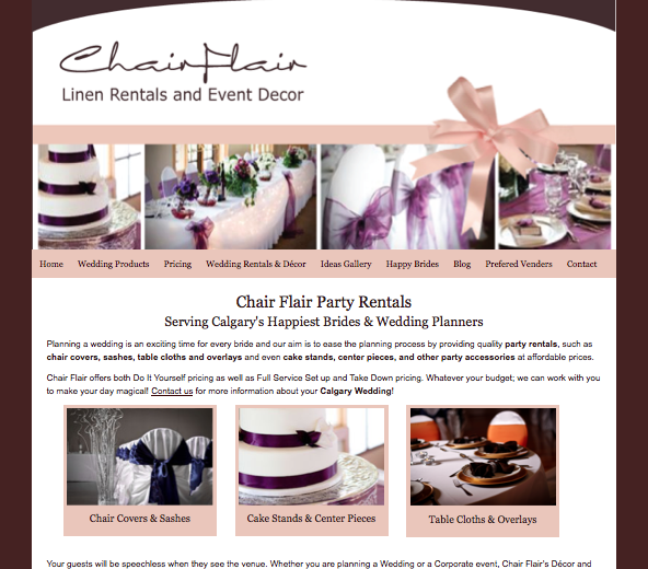 affordable chair covers calgary rattan chairs indoor her site was lost but now is found seo for flair wedding i have noticed a huge improvement in my ranking when you do search decor linens etc had ton of activity and lots