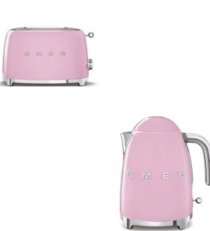Smeg Pastel Pink Kettle and Toaster Bundle
