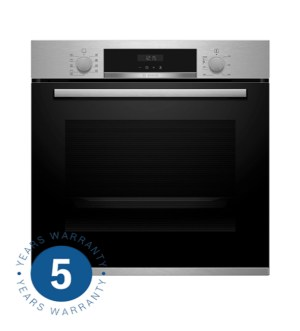 Bosch Brushed Steel 3D Hotair Pyrolytic Single Oven with Autopilot HBS573BS0B