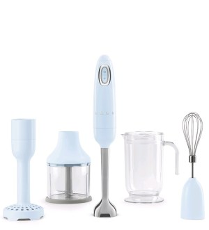 Smeg 50's Retro Style Pastel Blue Hand Blender with Accessories, HBF02PBUK