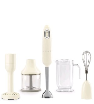 Smeg 50's Retro Style Cream Hand Blender with Accessories, HBF02CRUK