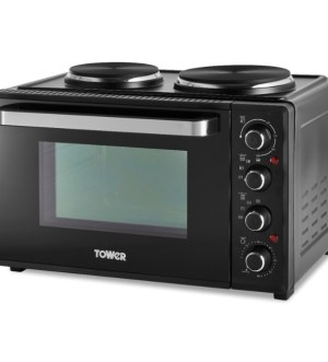 Tower 32L Mini Oven with Double Hobs | T14044