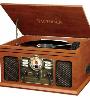 Victrola  Classic 6-in-1 Record Player with 3-Speed Turntable, Bluetooth, CD and Cassette Player and FM Radio –  Mahogany   256938