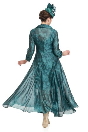 Silk Organza Jacquard Coat Over Short Silk Dress