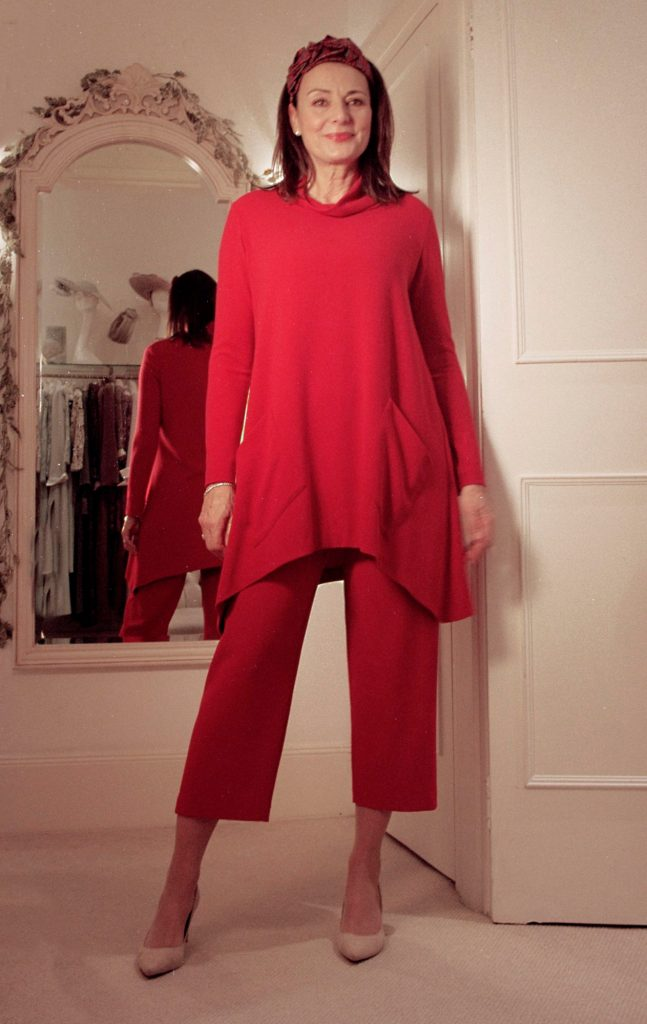Red Trouser Suit. Painters tunic and cropped trousers set in machine washable crepe with red tartan headband