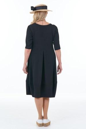 Short Sleeved Waffle Bubble Dress in Black