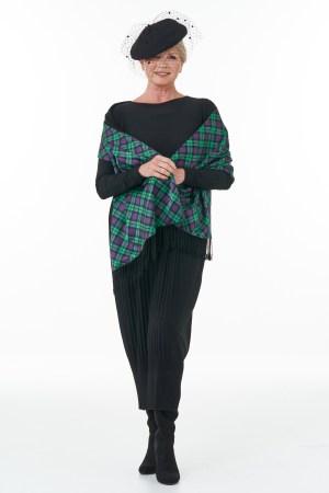 Black pleat dress with tartan wrap