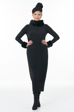 Black pleat dress with faux collar and cuffs