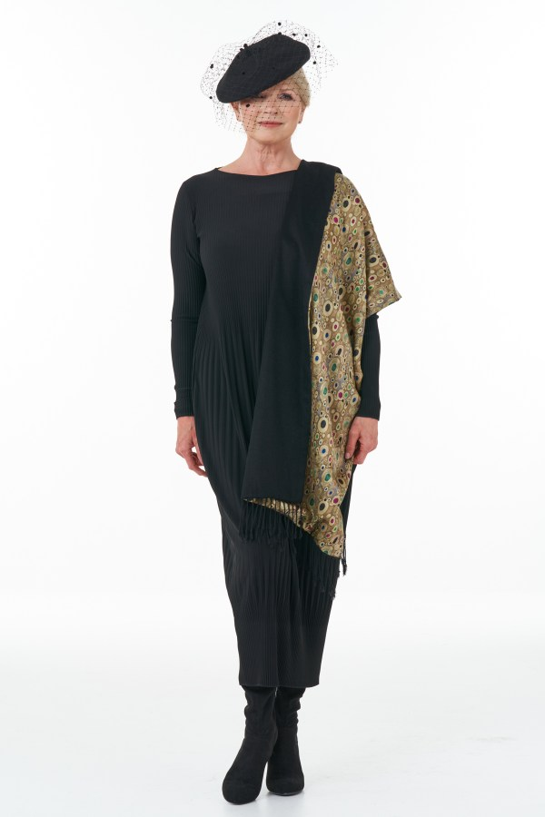Black pleat dress with gold stole