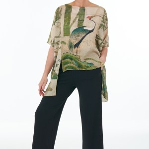 Black trousers and crane silk tunic