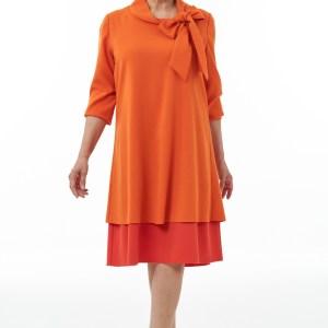 Mandarin and Orange Bow Neck Dress