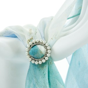 Double Tier Round Pearl and Diamanté Buckle Accessories